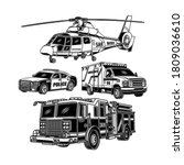 emergency vehicles collection... | Shutterstock .eps vector #1809036610