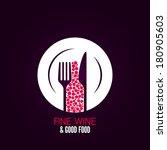 wine glass plate menu design... | Shutterstock .eps vector #180905603