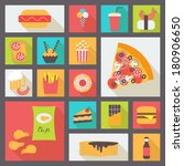 set of fast food items for... | Shutterstock .eps vector #180906650
