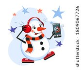 snowman with headphones ... | Shutterstock .eps vector #1809067726