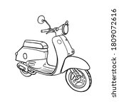 retro scooter hand drawn...   Shutterstock .eps vector #1809072616