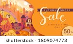 autumn sale card with fall... | Shutterstock .eps vector #1809074773