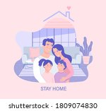 family in isolation.stay home... | Shutterstock .eps vector #1809074830