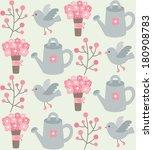 seamless garden pattern design. ... | Shutterstock .eps vector #180908783