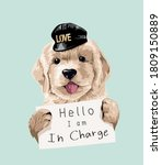 cute dog holding in charge sign ... | Shutterstock .eps vector #1809150889