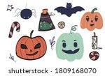 big set of kawaii funny... | Shutterstock .eps vector #1809168070