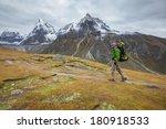 hiker walks on train in... | Shutterstock . vector #180918533