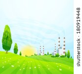 green landscape with trees  sun ... | Shutterstock .eps vector #180919448