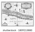 Map of part of the coast of Chile, c. 1625, anonymous, 1645 - 1647 Map of part of the coast of Chile, c. 1625. With several cartouches with inscriptions, vintage engraving.