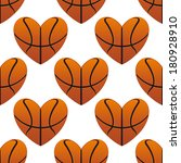 basketball hearts in a seamless ... | Shutterstock .eps vector #180928910
