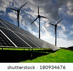 solar energy panels with wind... | Shutterstock . vector #180934676