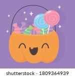 happy halloween  funny pumpkin... | Shutterstock .eps vector #1809364939