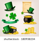 art,bucket,card,celebrate,clover,coin,color,concept,congratulation,day,decorative,design,editable,festive,floral