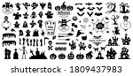 set of silhouettes of halloween ... | Shutterstock .eps vector #1809437983