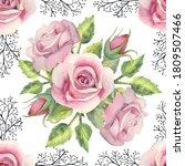 seamless pattern. pink rose... | Shutterstock . vector #1809507466