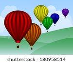 balloons over hills   raster | Shutterstock . vector #180958514