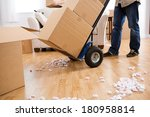 moving  using a handcart to... | Shutterstock . vector #180958814