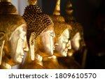 Closed up golden Buddha image