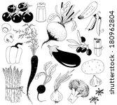 hand drawn vegetables | Shutterstock .eps vector #180962804