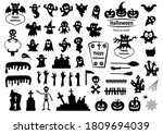 set of silhouettes of halloween ... | Shutterstock .eps vector #1809694039