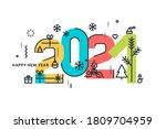 happy new year 2021. modern... | Shutterstock .eps vector #1809704959