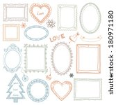 collection of hand drawn doodle ... | Shutterstock . vector #180971180