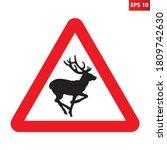 deer crossing traffic sign.... | Shutterstock .eps vector #1809742630