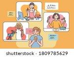 a girl is watching social media ... | Shutterstock .eps vector #1809785629