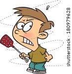 cartoon boy irritated by a fly