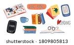 reading lovers cute set.... | Shutterstock .eps vector #1809805813