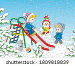 kids playing on a toy slide on... | Shutterstock .eps vector #1809818839