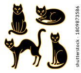 hand drawn black cats with...   Shutterstock .eps vector #1809873586