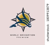 whale navigation logo template... | Shutterstock .eps vector #1809913879