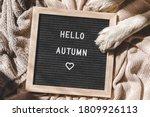 Autumnal Background. Puppy Dog...