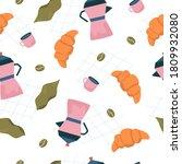 seamless coffee pattern in...   Shutterstock .eps vector #1809932080