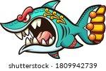 angry cartoon aztec shark with... | Shutterstock .eps vector #1809942739