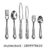 cutlery set. isolated flat hand ... | Shutterstock .eps vector #1809978610