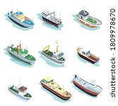 Commercial Ship Set. Isolated...