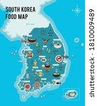 south korea. food. map. vector... | Shutterstock .eps vector #1810009489