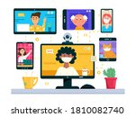 video conference concept.... | Shutterstock .eps vector #1810082740