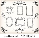 calligraphic borders and frames ... | Shutterstock .eps vector #181008659