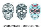 set of sugar skulls for the day ... | Shutterstock .eps vector #1810108783