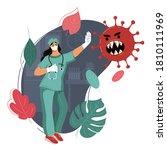 doctor stops pandemic. medicine ... | Shutterstock . vector #1810111969