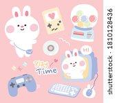 pastel concept.set of cute... | Shutterstock .eps vector #1810128436