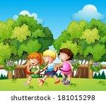 illustration of the kids... | Shutterstock .eps vector #181015298
