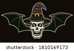 witch skull with bat wings... | Shutterstock .eps vector #1810169173