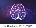 abstract brain hologram on dark ... | Shutterstock . vector #1810173829