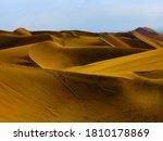 Yellow Sand Dunes In Arid...