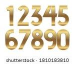 gold numbers. metal golden... | Shutterstock . vector #1810183810