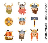 Funny Viking Stickers Vector...